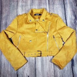 Missguided mustard yellow moto jacket size 8